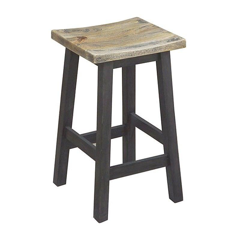 Osaka Solid Mango Wood Timber Counter Stool, White Wash/Black