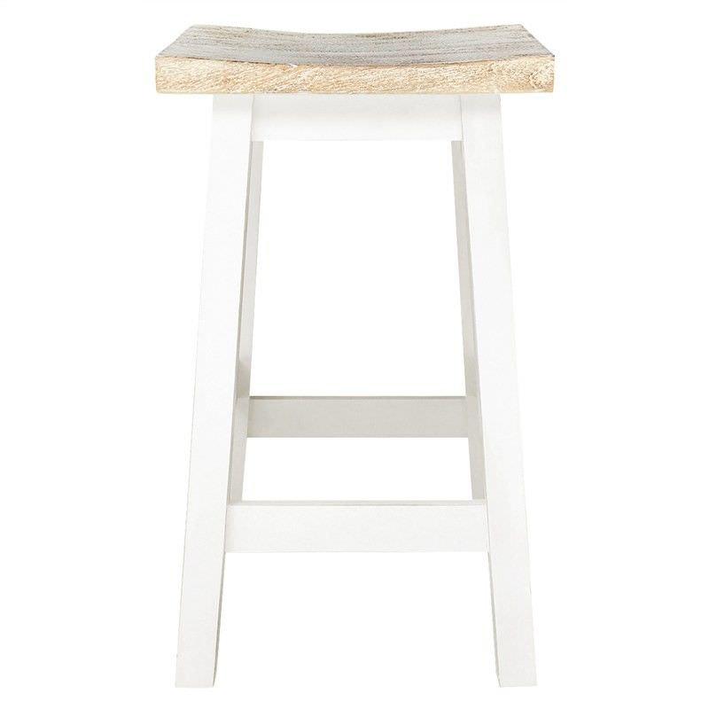 Osaka Solid Mango Wood Timber Counter Stool, White Wash/White