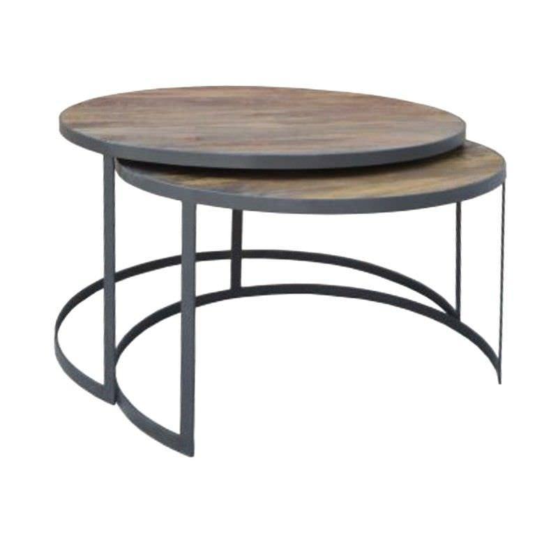 Bullard 2 Piece Mango Wood and Metal Round Nesting Coffee Table Set, 80cm