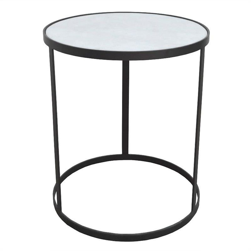 Xander Marble and Iron Round Side Table