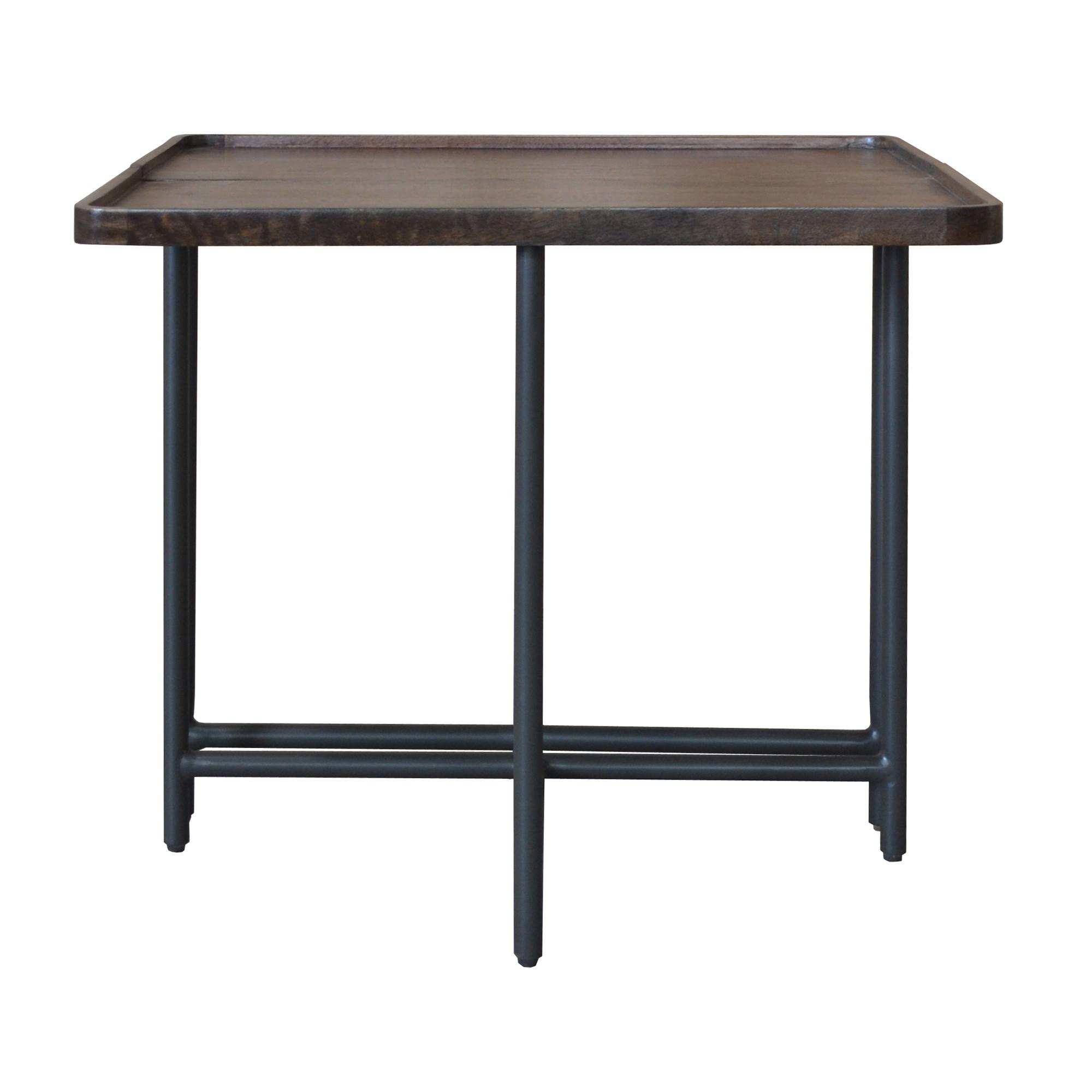 Mirabel Mango Wood & Metal Square Side Table