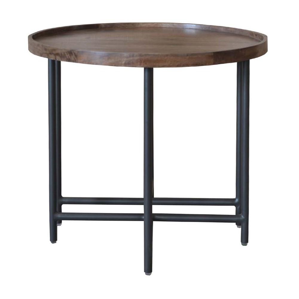 Mirabel Mango Wood & Metal Round Side Table