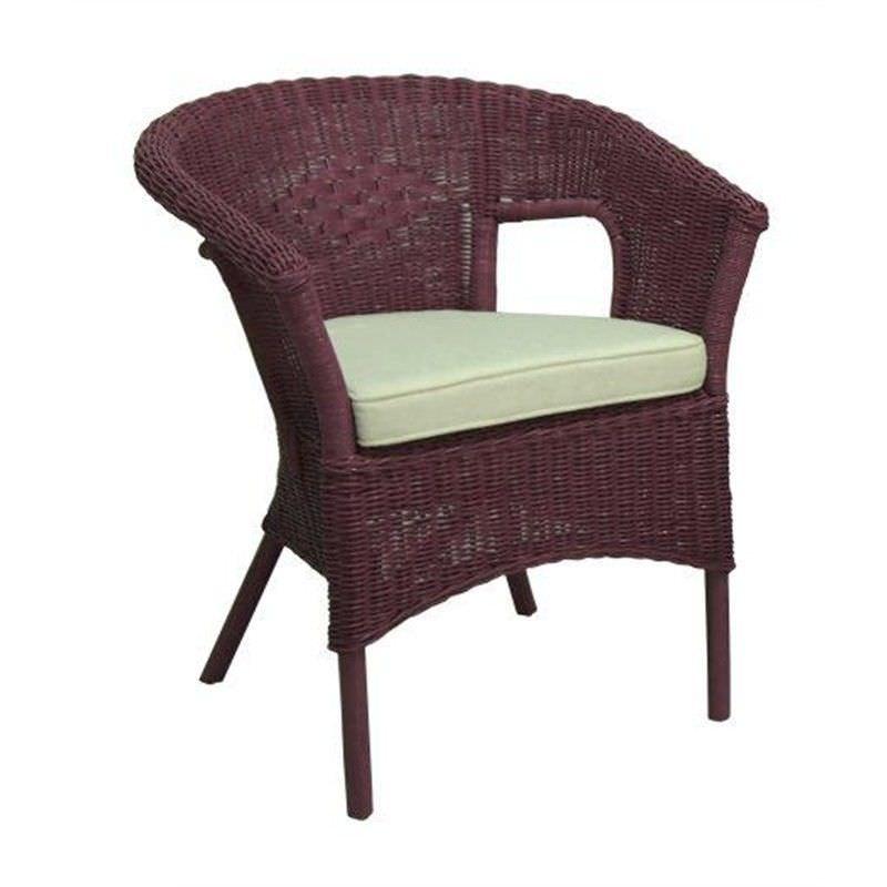 Skjern Fuschia Rattan Tub Chair with Cushion