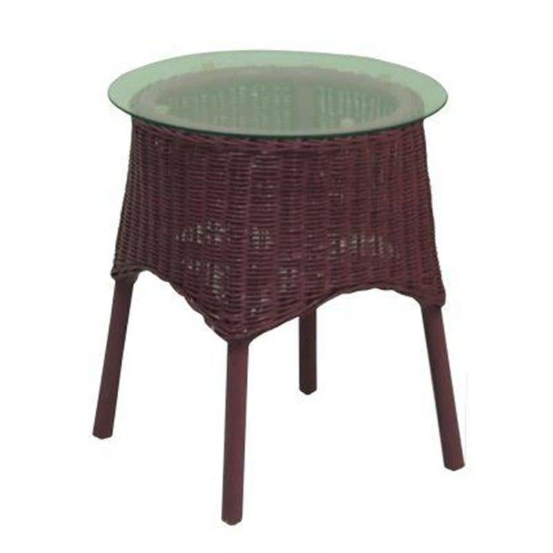 Skjern Rattan Side Table with Glass Top, Fuschia