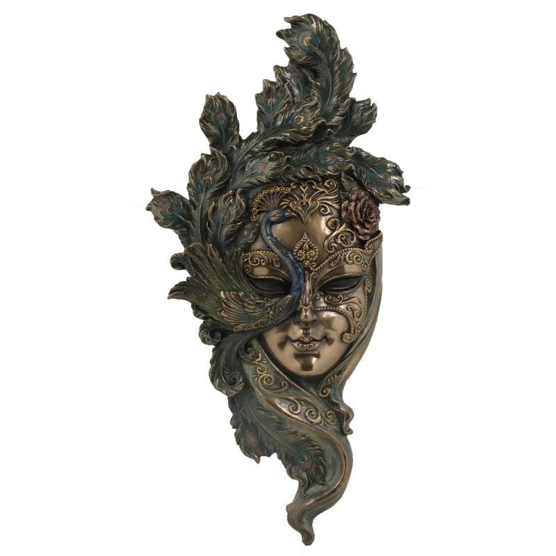 Veronese Cold Cast Bronze Coated Venetian Mask Wall Art, Peacock Headdress