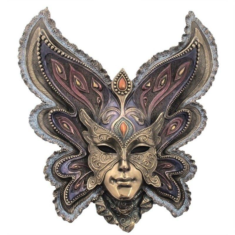 Cast Bronze Venetian Mask Wall Art, Butterfly Headdress