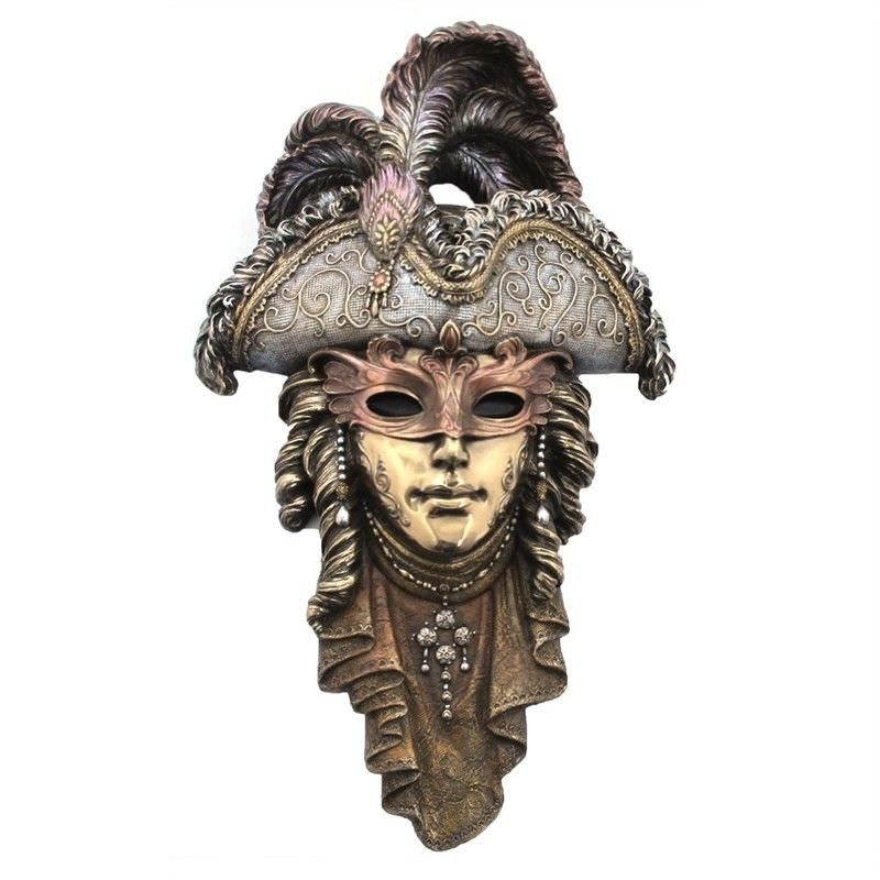 Cast Bronze Venetian Mask Wall Art, Tricorn Headdress