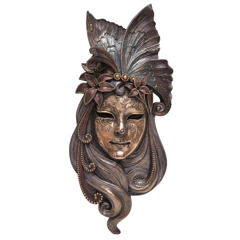 Cast Bronze Venetian Mask Wall Art, Lily Headdress, Large