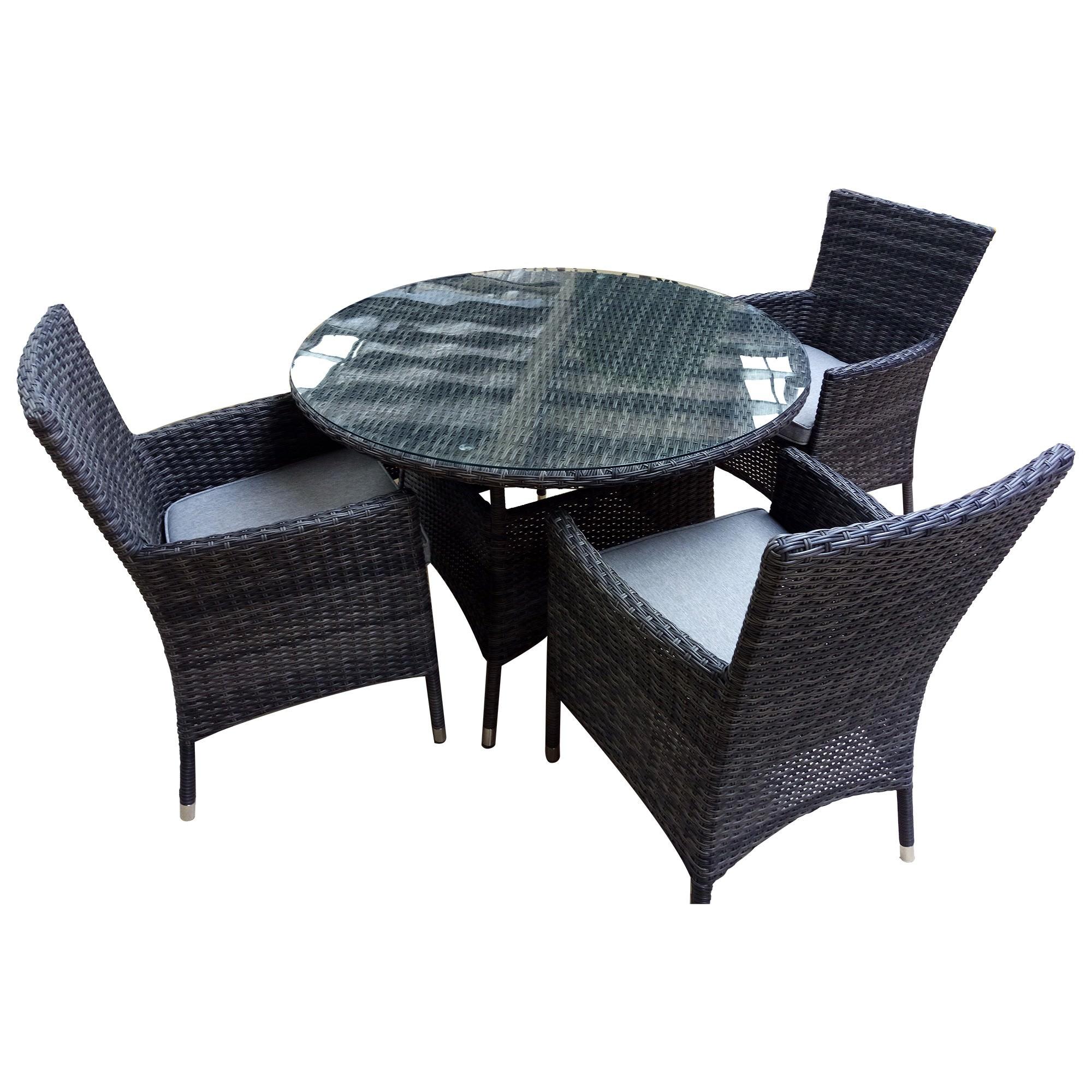 Sanford 5 Piece Wicker Outdoor Round Dining Table Set, 110cm