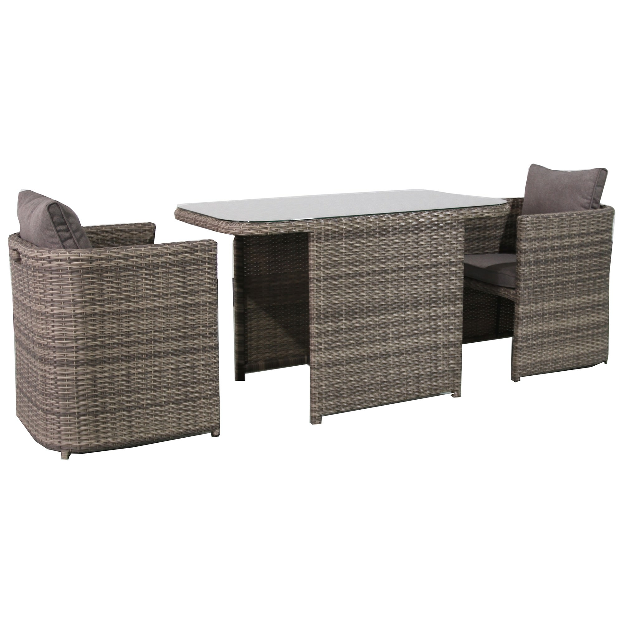 Ingrid 3 Piece Wicker Compact Balcony Dining Table Set, 120cm