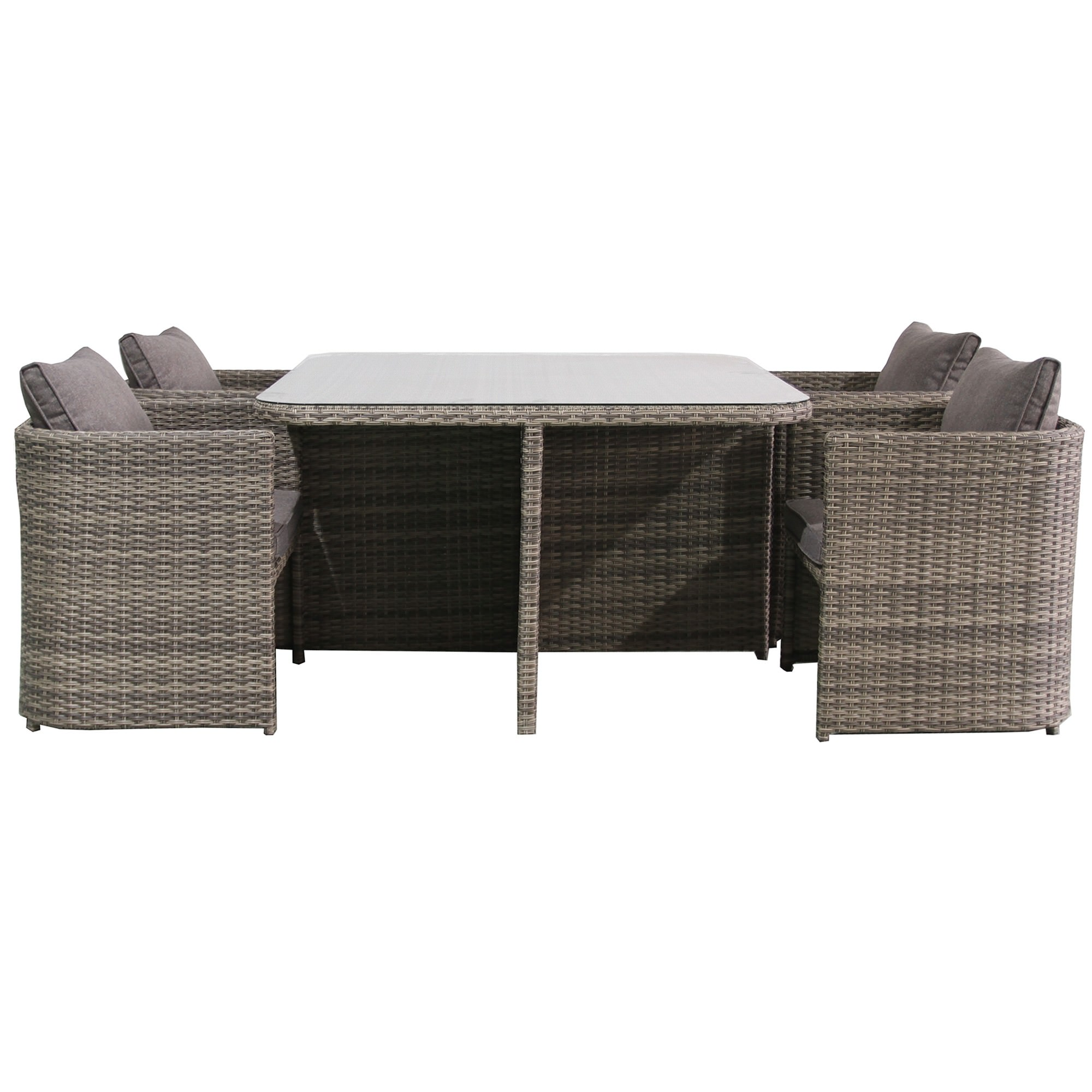 Ingrid 5 Piece Wicker Compact Balcony Dining Table Set, 120cm