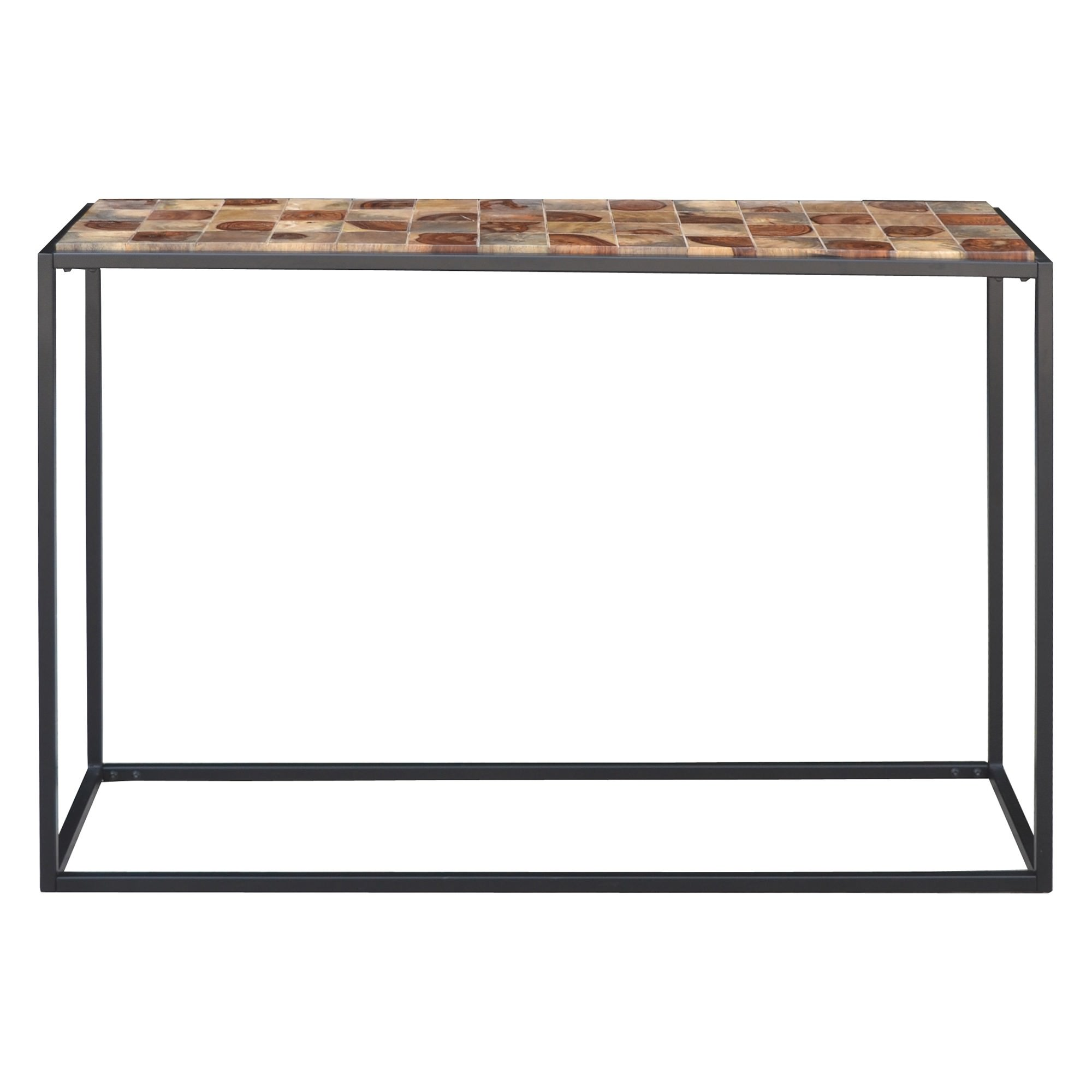 Treves Parquetry Timber & Metal Console Table, 122cm