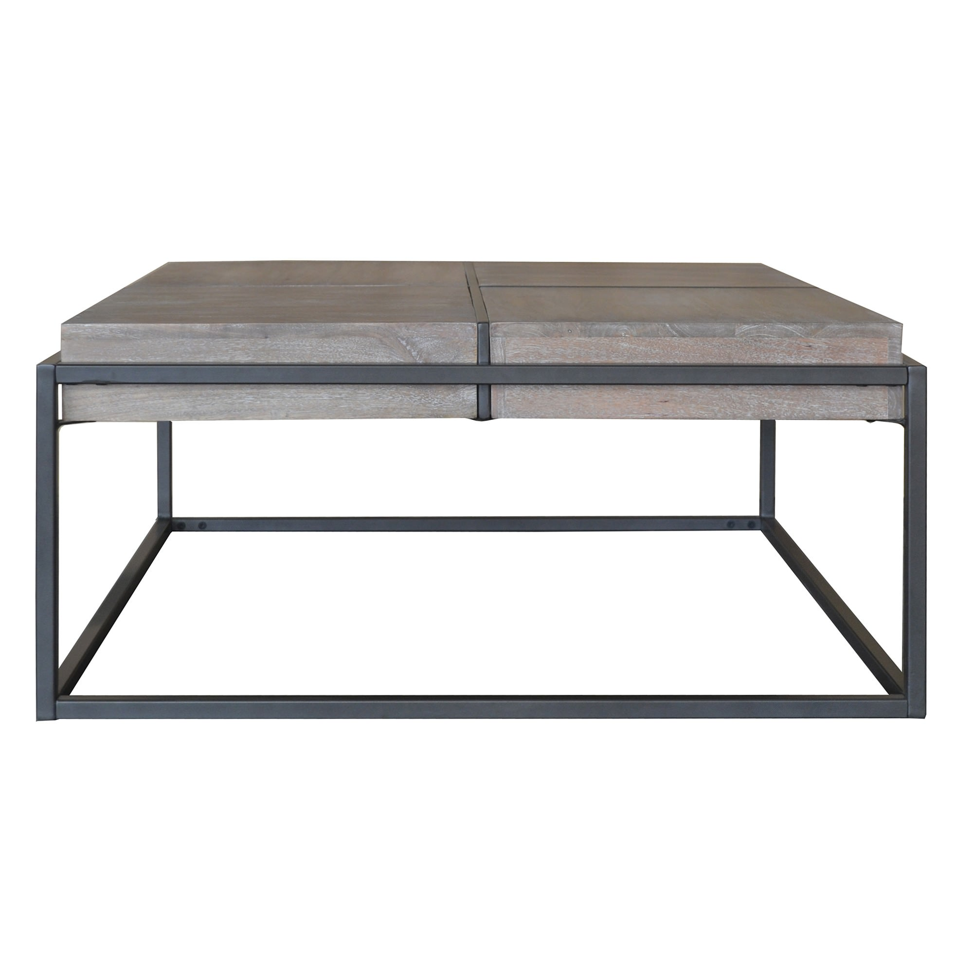 Ampuis Mango Wood & Metal Square Coffee Table, 90cm