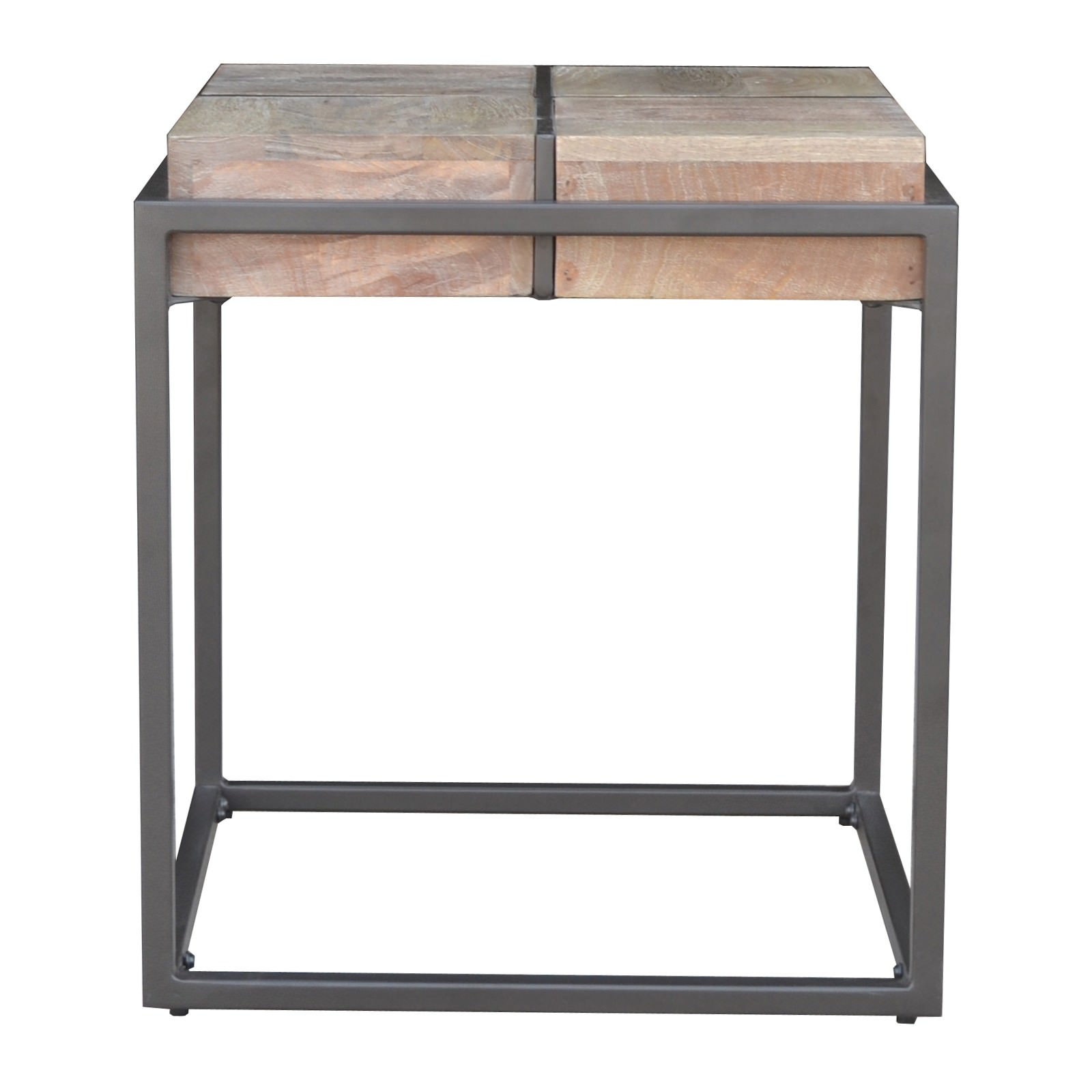 Ampuis Mango Wood & Metal Square Side Table