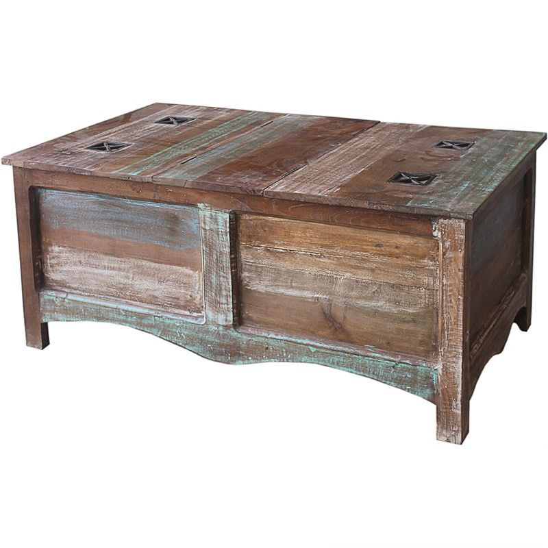 Grafton Distressed Solid Timber Trunk 106cm Coffee Table