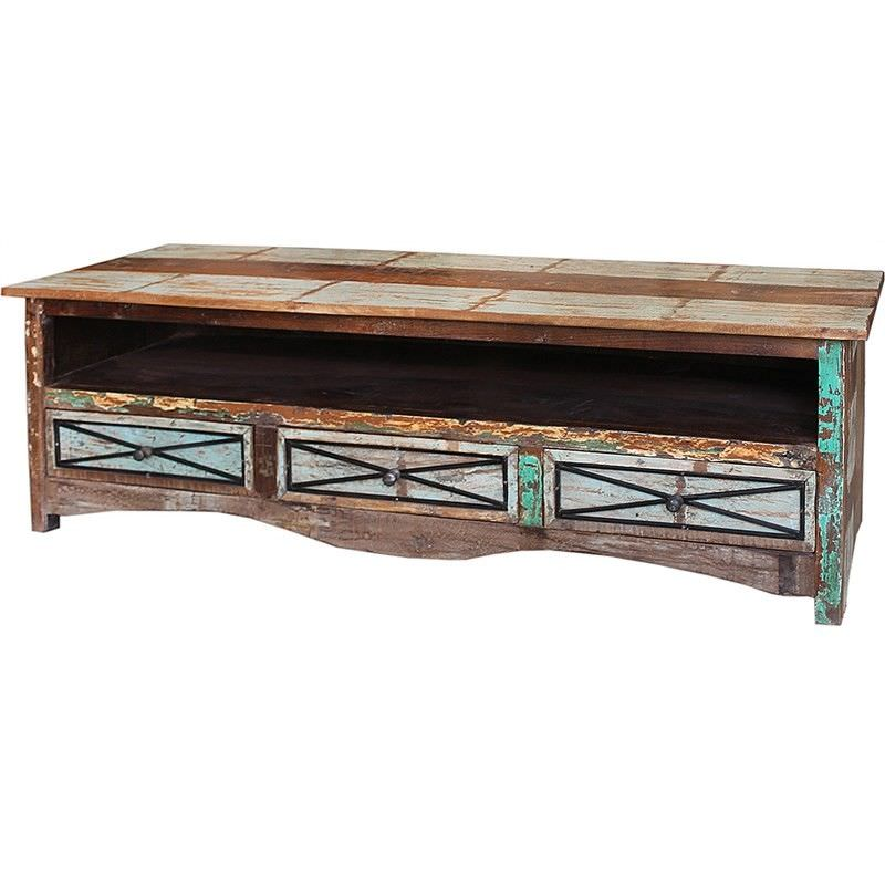 Grafton Distressed Solid Timber 3 Drawer 150cm TV Unit