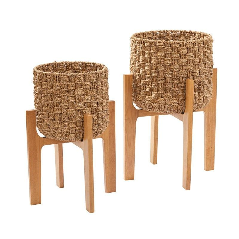 Barbados Set of 2 Woven Water Hyacinth Planter Stand Set