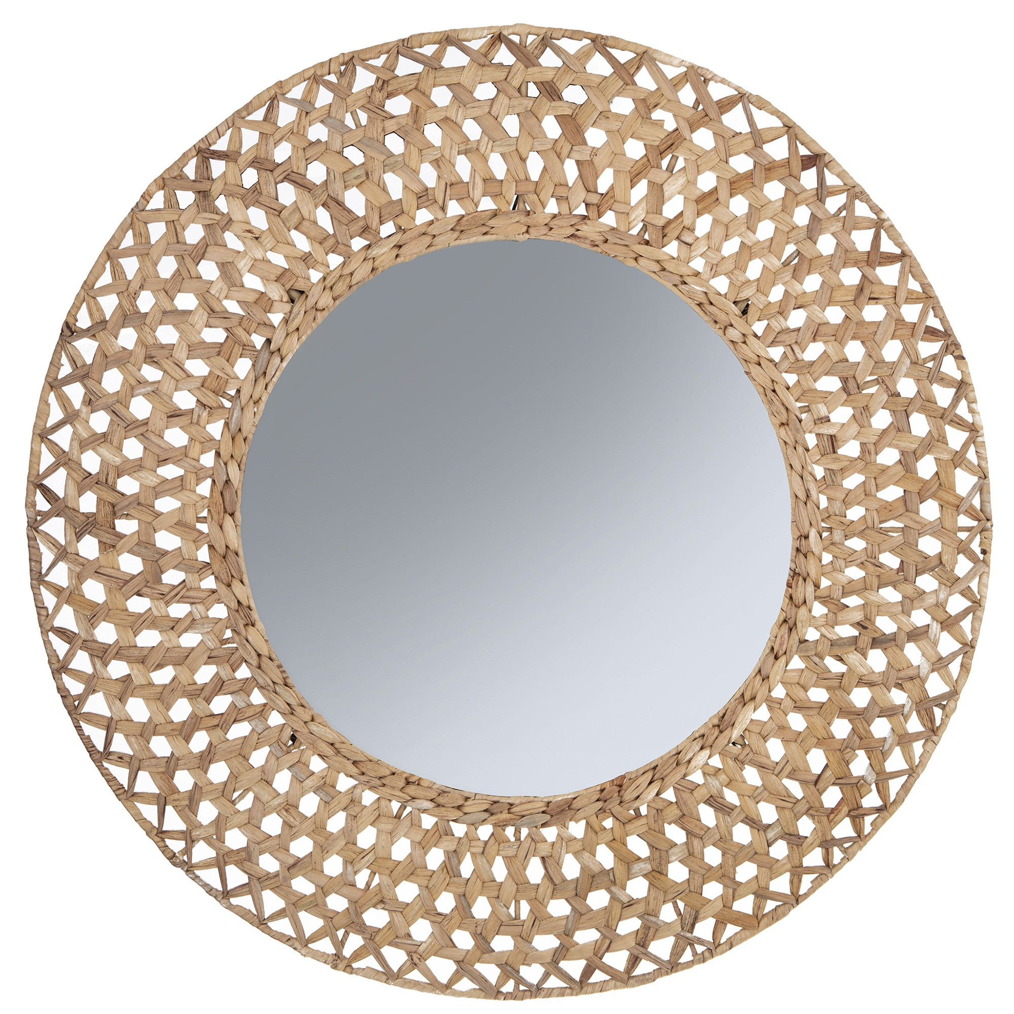 Riviera Water Hyacinth Frame Wall Mirror, 80cm