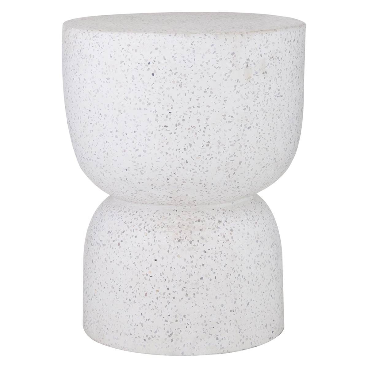 Kaia Terrazzo & Cement Side Table / Stool, White