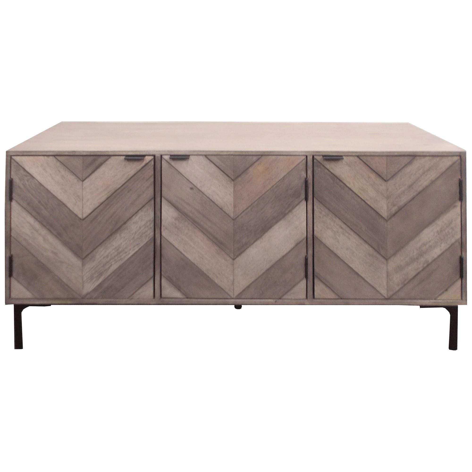 Bolazec Mango Wood 3 Door Buffet Table, 145cm