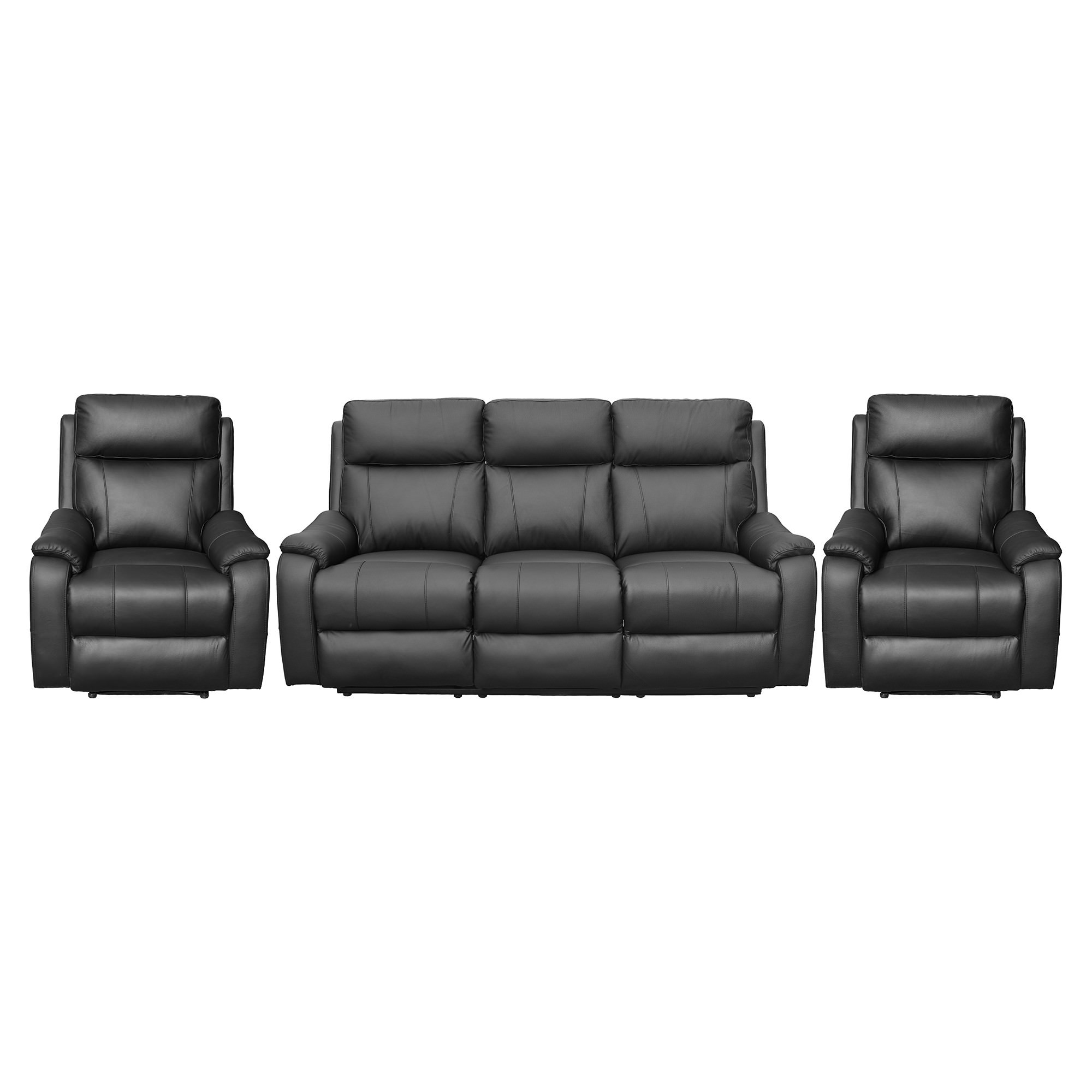 Texas 3+1+1 Seater Leather Recliner Sofa Set, Black