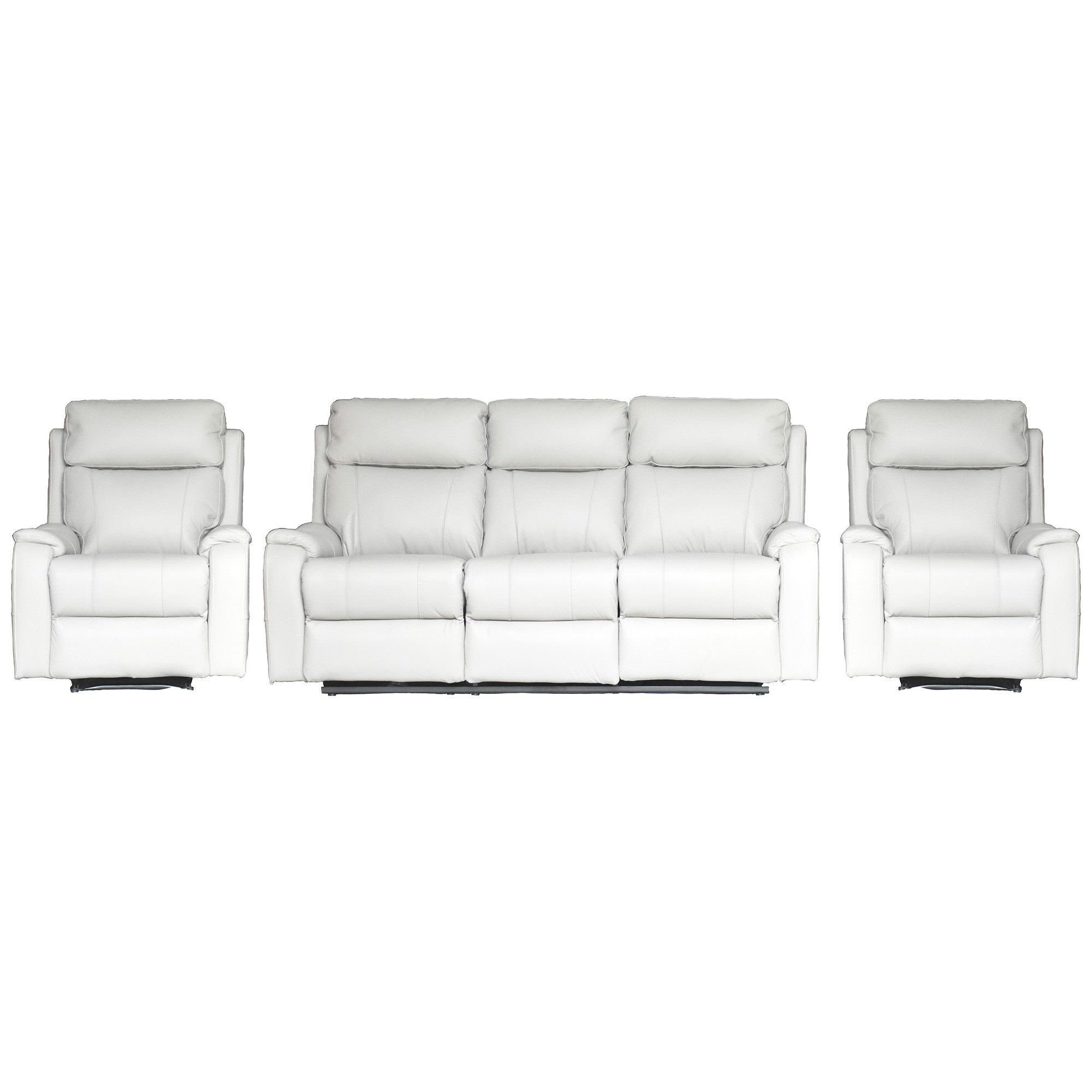 Texas 3+1+1 Seater Leather Recliner Sofa Set, Mist