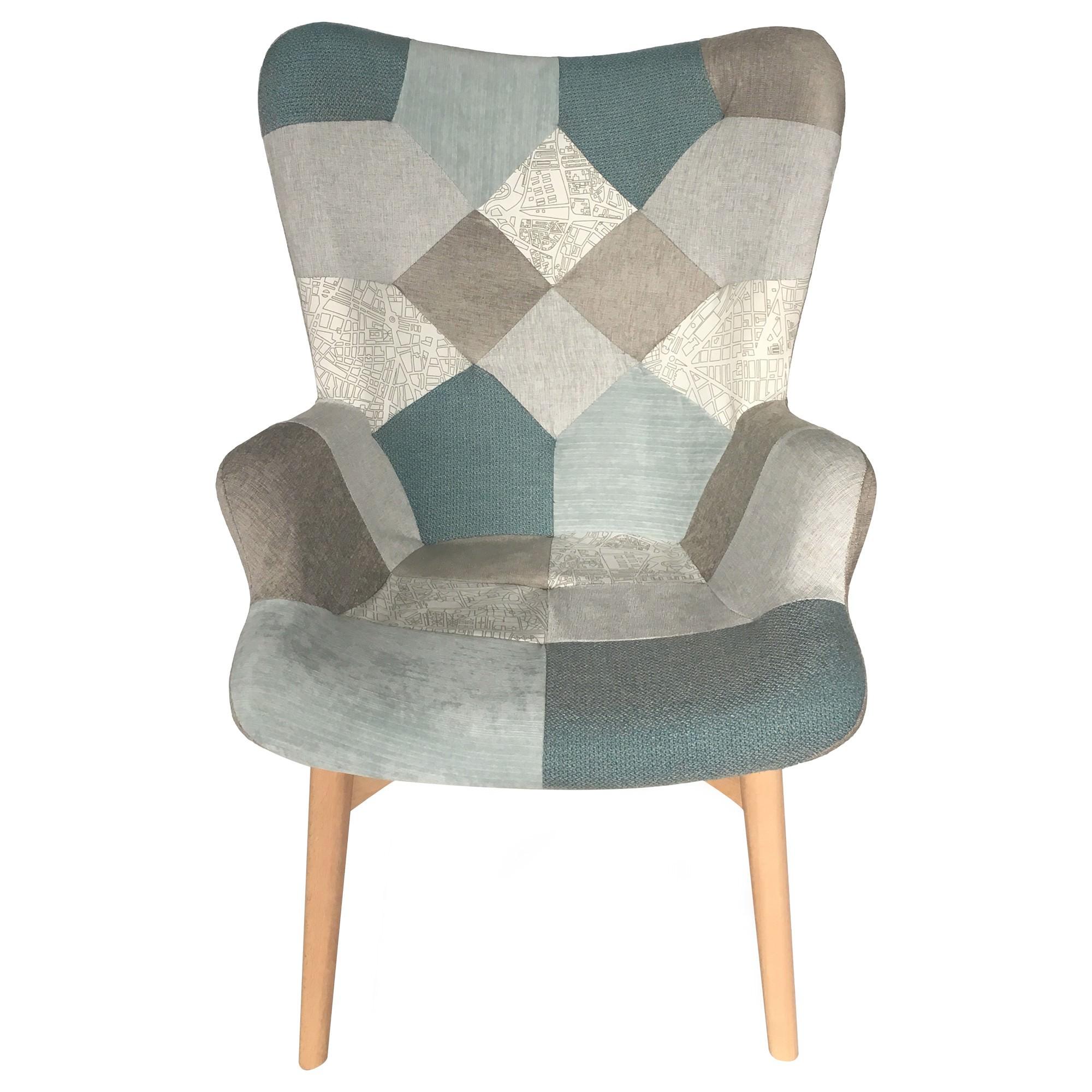 Dalbert Patchwork Fabric Armchair, Teal / Grey