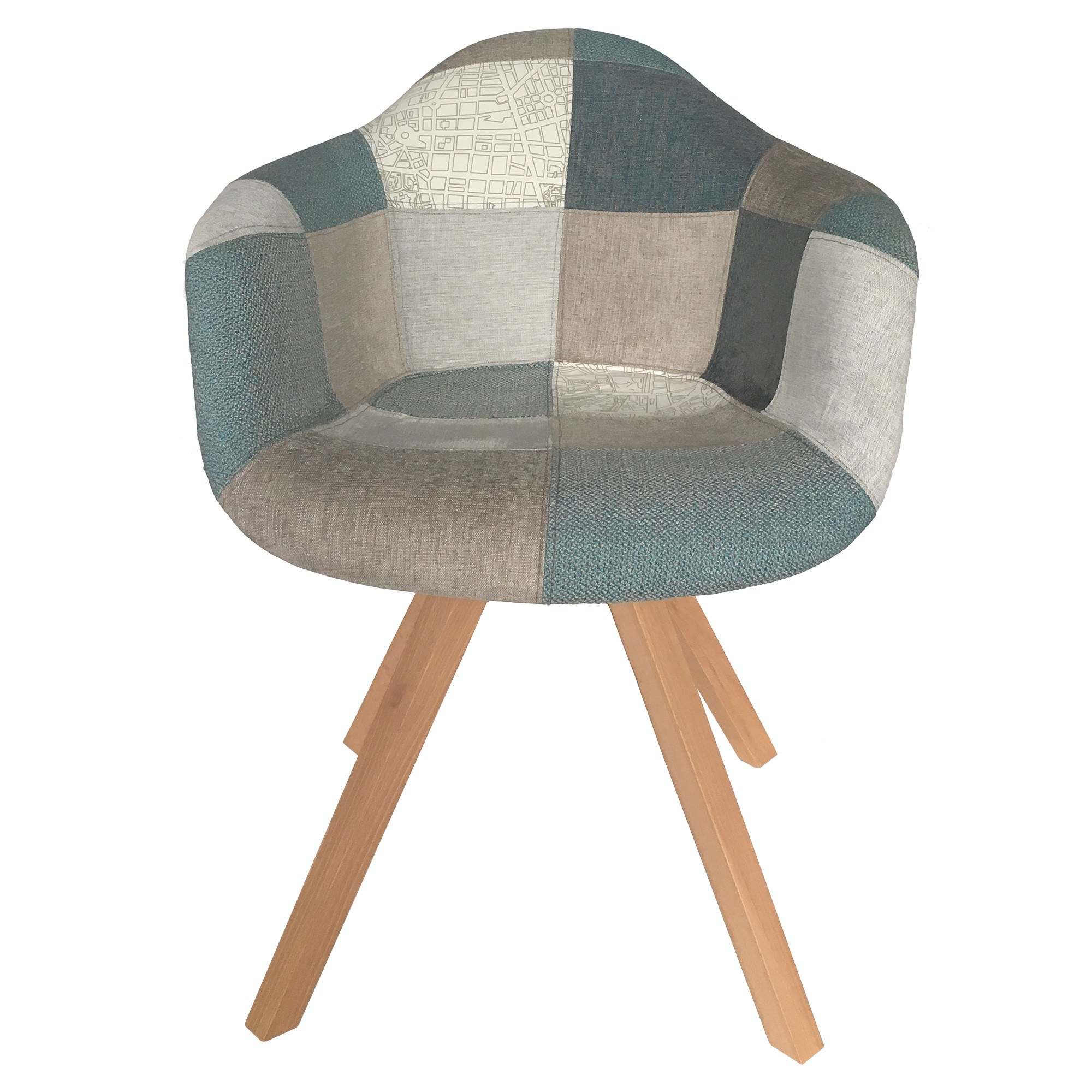 Dalbert Patchwork Fabric Tub Chair, Teal / Grey