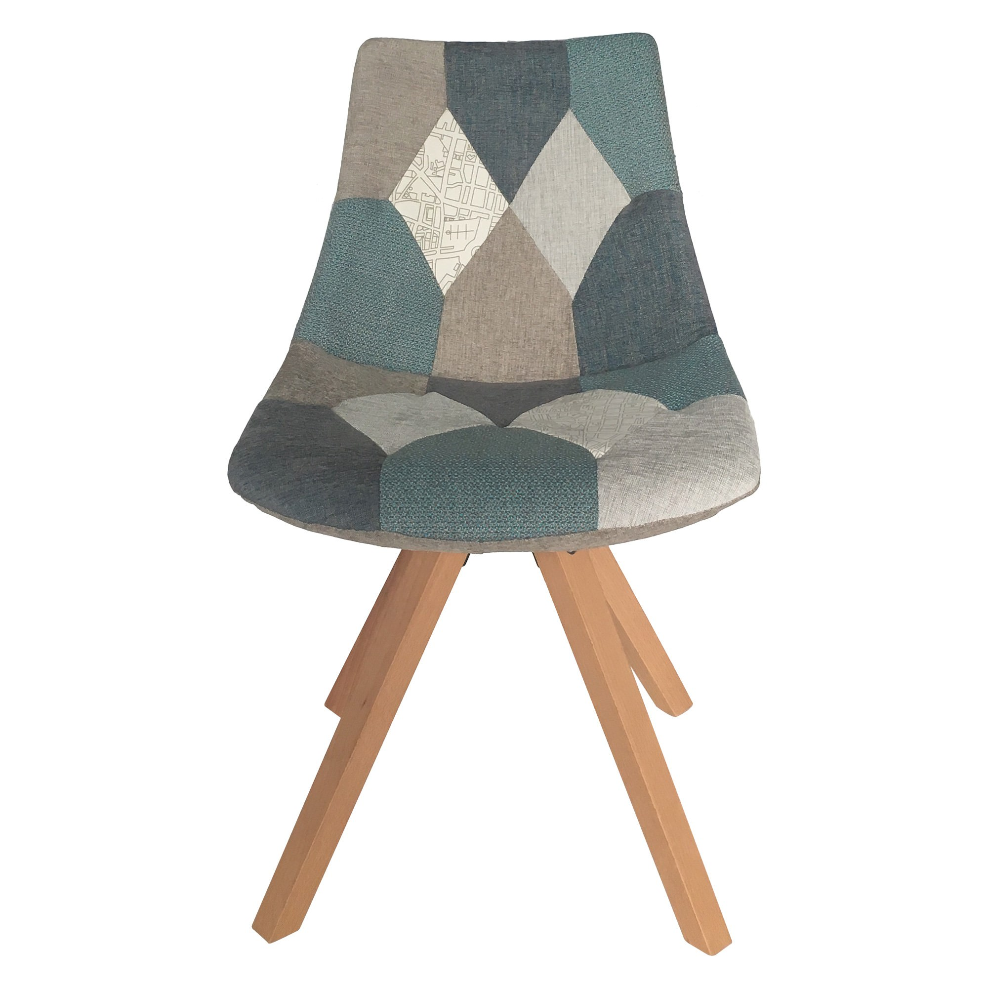 Dalbert Patchwork Fabric Side Chair, Teal / Grey