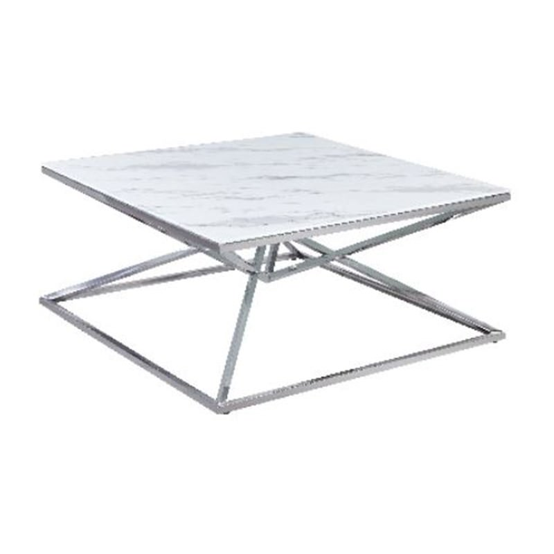 Hinx Glass Topped Stainless Steel Square Coffee Table, 100cm