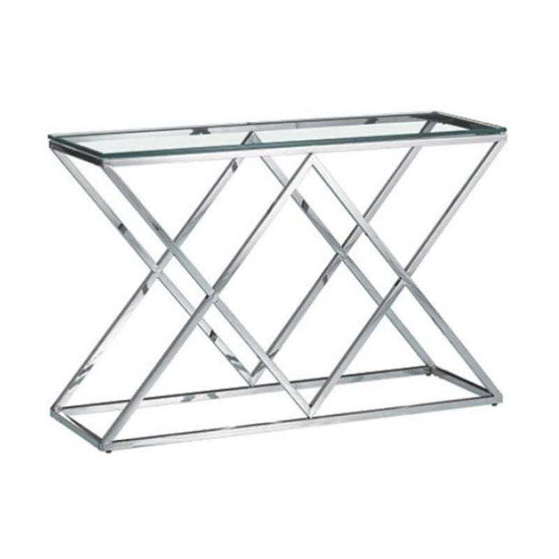 Morda Glass Topped Stainless Steel Console Table, 120cm