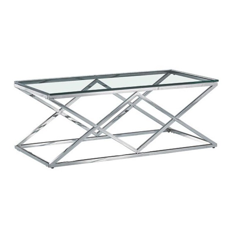 Morda Glass Topped Stainless Steel Coffee Table, 120cm