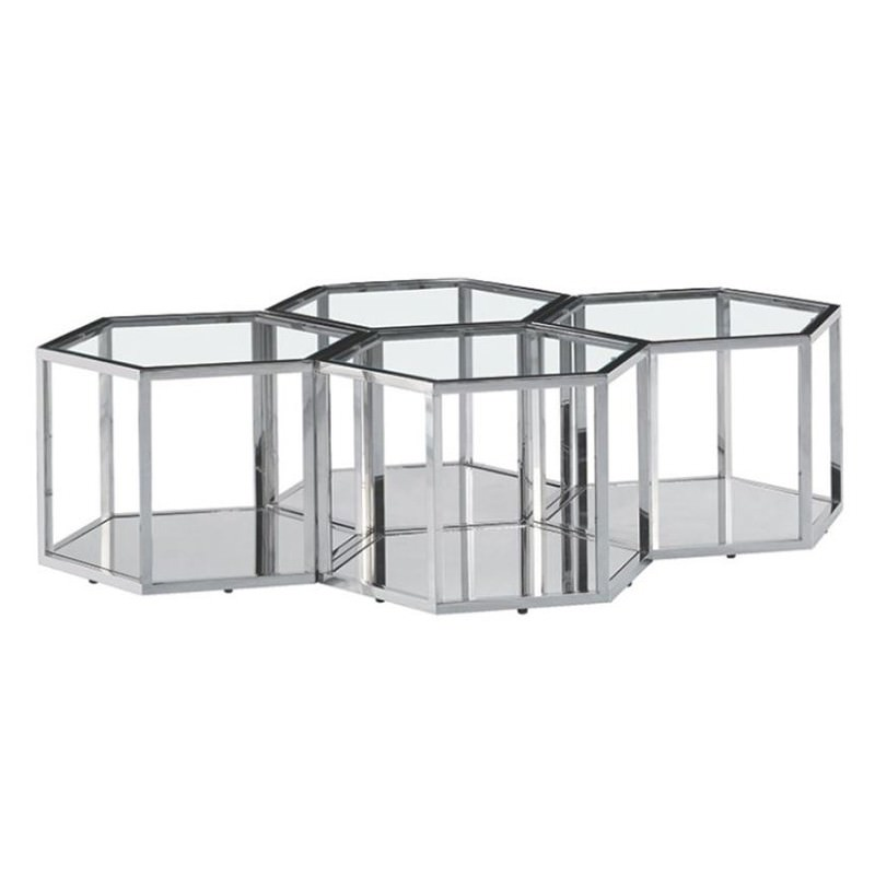 Meifod Glass Topped Stainless Steel Hexagonal Coffee Table, 150cm