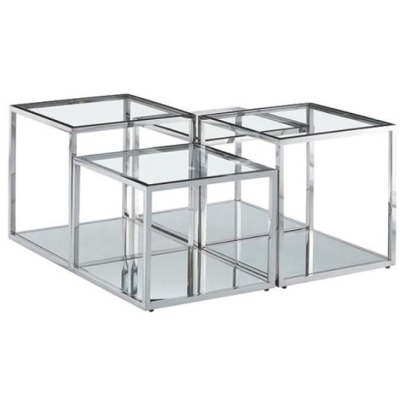 Meifod Glass Topped Stainless Steel Square Coffee Table, 100cm