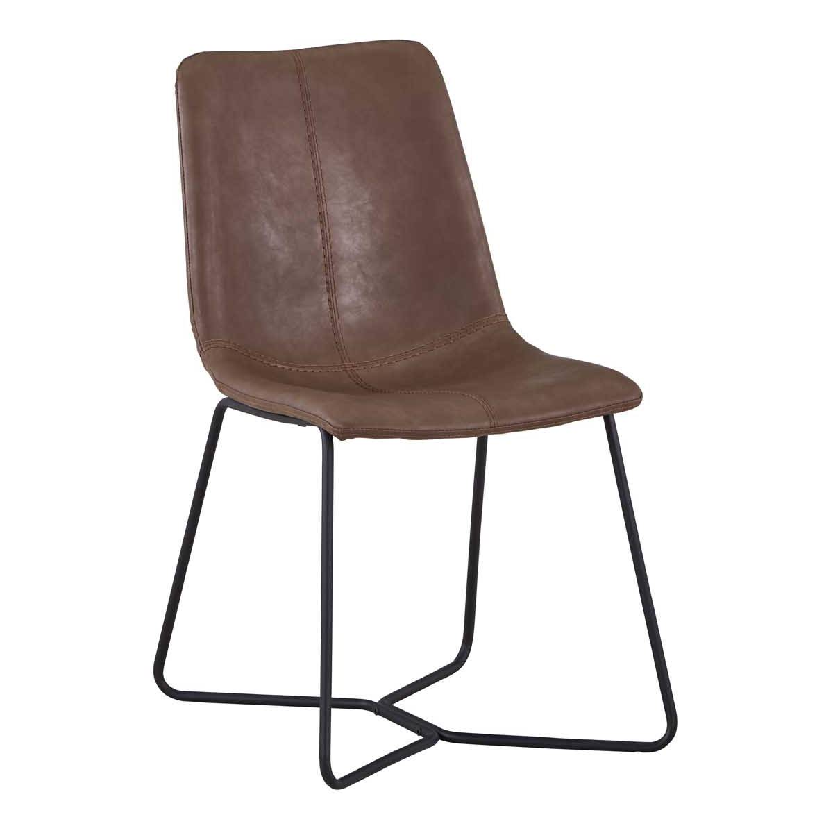 Forster PU Leather Dining Chair, Brown