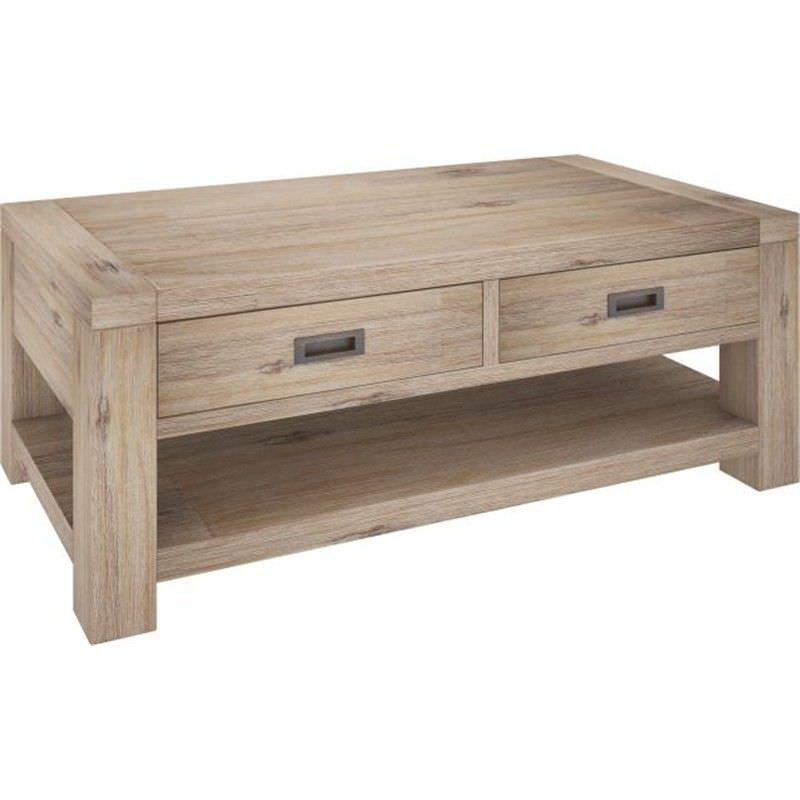 Laccadive 133cm Acacia Timber 2-Drawer Coffee Table in Ash Finish