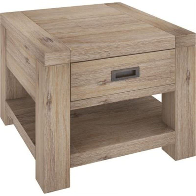 Laccadive 65cm Acacia Timber One Drawer Lamp Table in Ash Finish