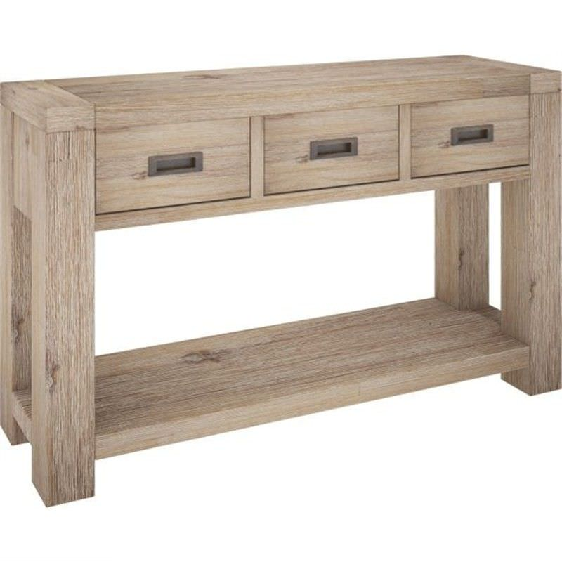 Laccadive 130cm Acacia Timber 3-Drawer Console Table in Ash Finish