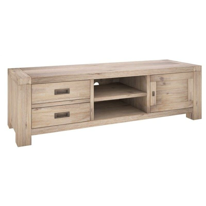 Laccadive 173cm Acacia Timber  2-Drawer 1-Door TV Unit in Ash Finish