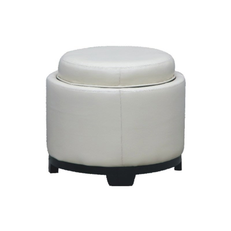 Round Bella Ottoman with Tray in Ivory