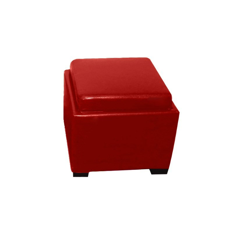 Bella Ottoman with Tray in Red