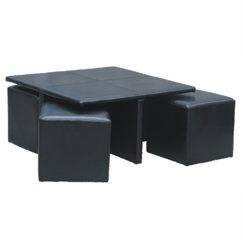 Kylie Coffee table with 4 Ottomans in Black