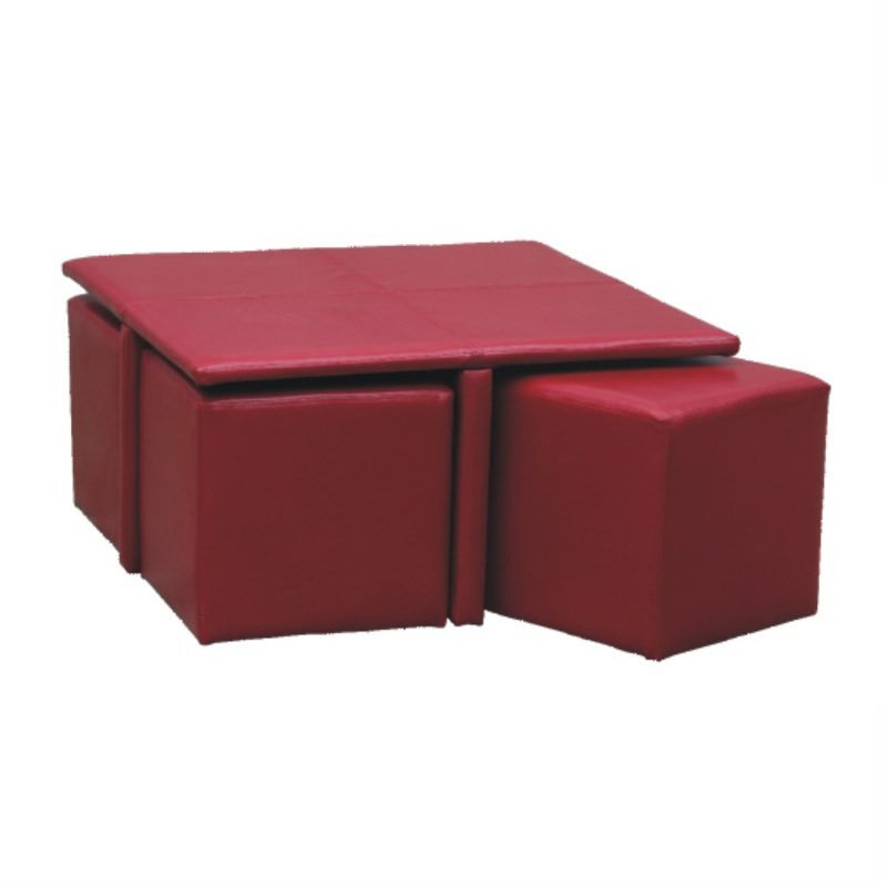 Kylie Coffee table with 4 Ottomans in Red