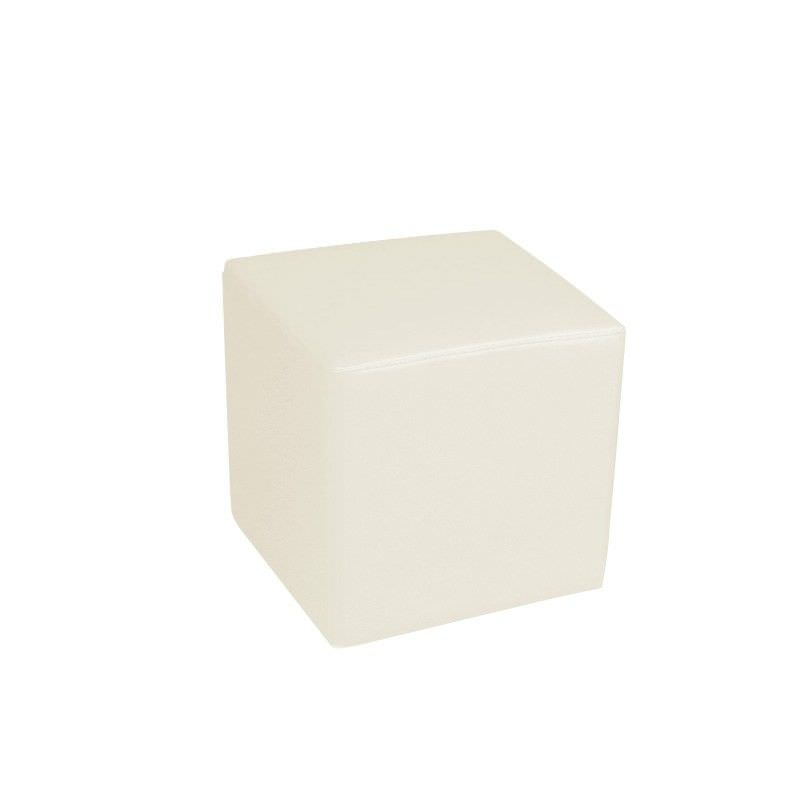 Square Ottoman in Ivory