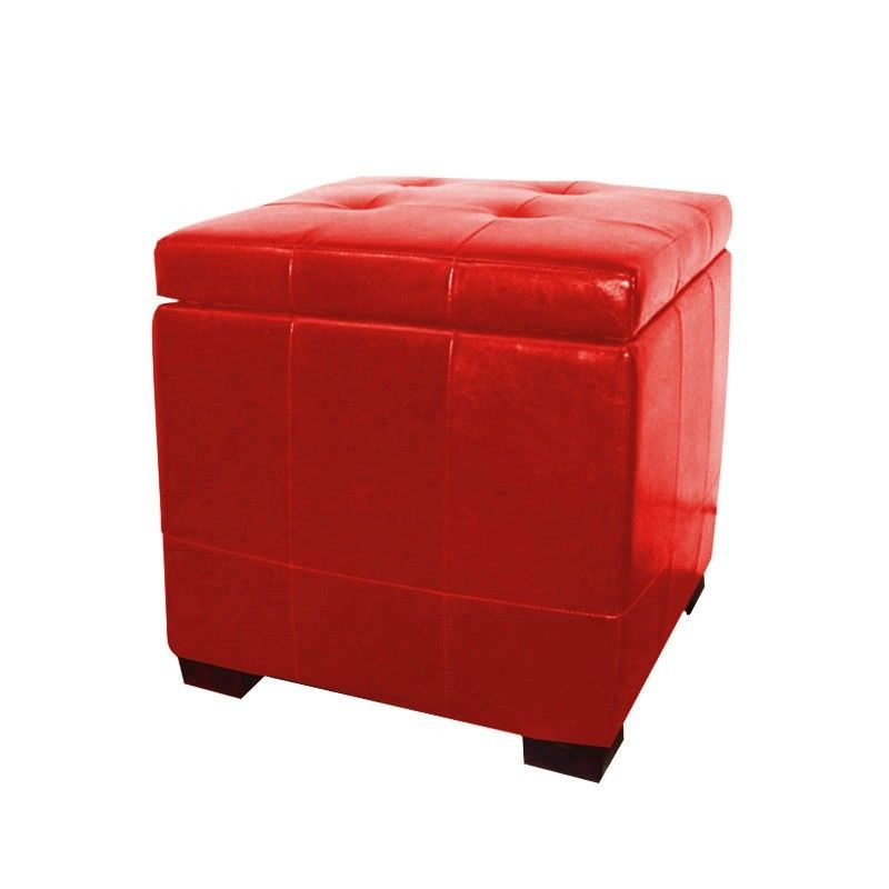 Vista Storage Ottoman in Red