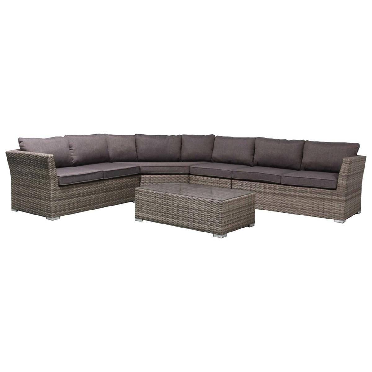 Reston 5 Piece Wicker Outdoor Modular Corner Lounge Set, 6 Seater