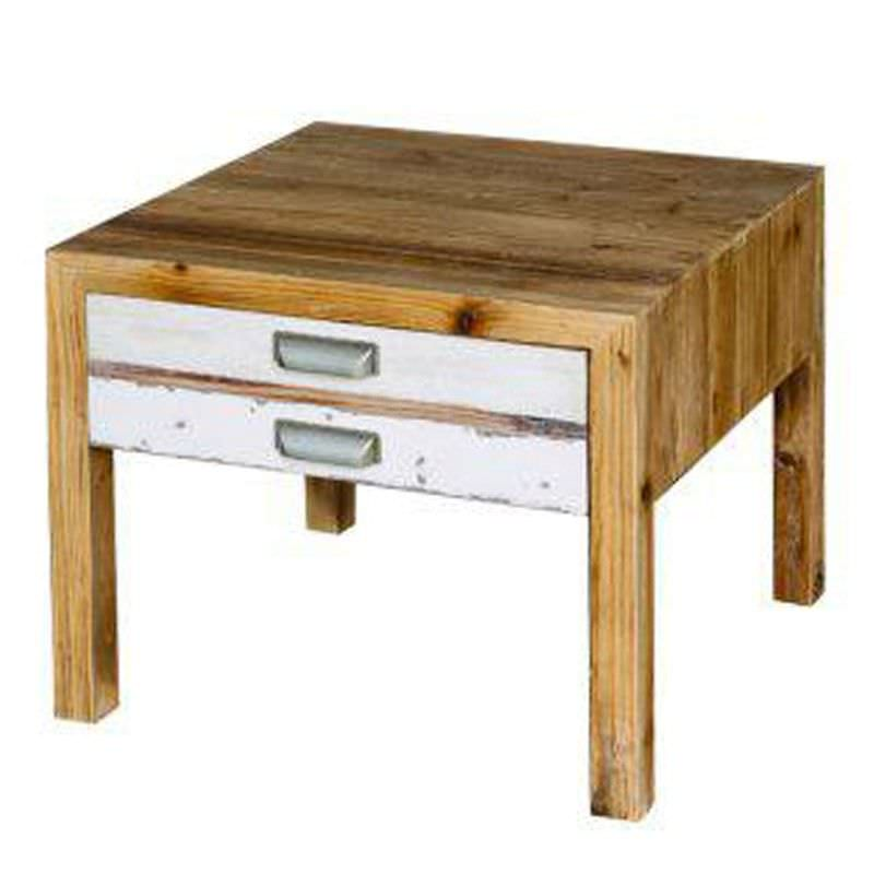 Trend Light Colourful Recycled Elm 1 Drawer Side Table
