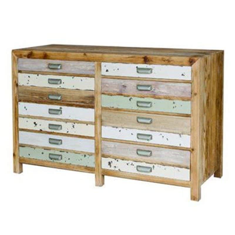 Epsom Recycled Elm Timber 8 Drawer Chest