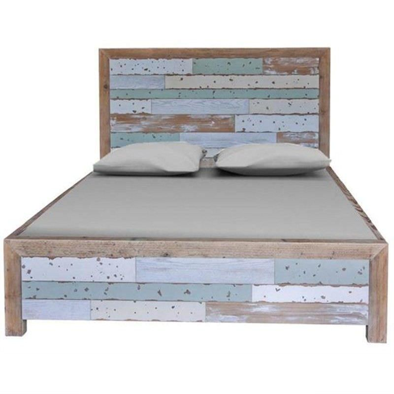 Epsom Recycled Elm Timber Bed, Queen