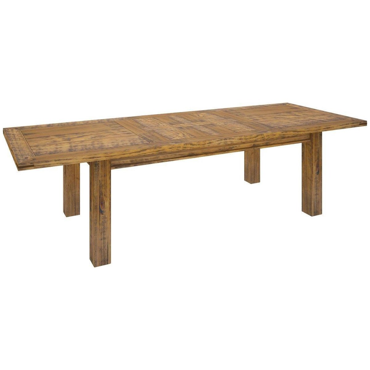 Serafin Rustic Pine Timber Extension Dining Table, 210-310cm
